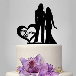 Acrylic Mrs And Mrs Heart Same Sex Lesbian Couple Wedding Cake Topper Decoration