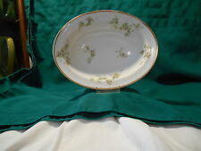 Limoges France China Platter Pink Flowers with Greenery, Gold Trim