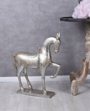 Horse Sculpture Silver Country Style Christmas Figurine Antique 66 CM