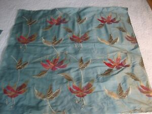 EMBROIDERED SILK TAFFETA, TEAL BLUE, CRANBERRY, LARGE REMNANT