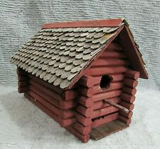 Primitive Old Handcrafted Log Cabin Wood Shake Roof Cottage Birdhouse Free S/H