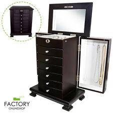Dark Brown Wooden Jewelry Armoire Box Organizer Storage 6 Drawer Cabinet+Mirror