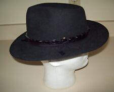 Akubra Stockman Felt Fedora Cowboy Hat Black Australia Size 57 cm