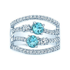 14k White Gold Natural Aquamarine Diamond Multi Row Band Ring Cocktail Wide 7