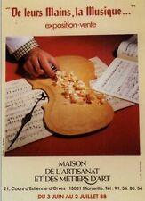 Affiche 1988 De Leurs Mains La Musique Fabrication Violon LUTHIER Main Copeaux
