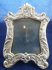 Fine Antique Sterling Silver Picture Frame Floral Repousse Signed Beautiful
