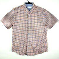 Nautica Mens Blue White Orange Striped Short Sleeve Button Shirt Size Large