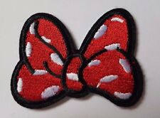Minnie Mouse Bow Embroidered Iron On Sew On Patch Dress Bag t-shirt Jacket Skirt