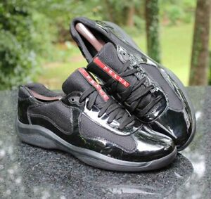 PRADA America's Cup Black Patent Leather Sneaker 4E2043 Men's Prada Size 10