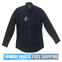 Hugo Boss Men's NWT Enzo Black Button Front Cotton LS Dress Polo Shirt MSRP $109