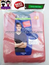 SO CHEAP! HANES 3PACK COLORED VNECK TSHIRTS COMFORTSOFT MEDIUM MADE IN HONDURAS