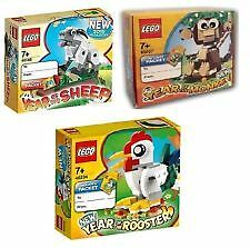 LEGO CNY Year Of The Sheep 40148 + Monkey 40207 + Rooster 40234