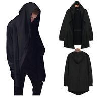 Men's Punk Hooded Sweater Cardigan Black Cloak Cape Jacket Street Hip-hop Coat