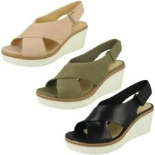 Ladies Clarks Slingback Wedge Heel Sandals Palm Candid