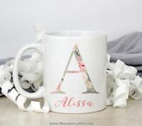 Personalized Initial Mug Custom Monogram Mugs Gift For Coffee Lovers Floral Mug