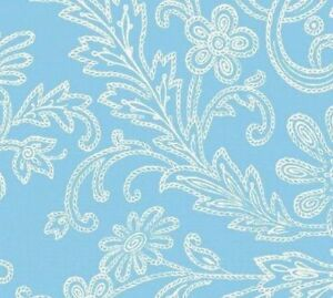 Anna Griffin Hannah Stitched Floral in Blue Quilt Fabric 28291-2
