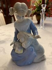 "Sisters and cat kitten porcelain statue big sister little sister 6 1/4"" tall"