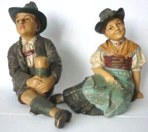 Antique C1890 Johann Maresch Terracotta Pair Tyrolean Figurines Austria