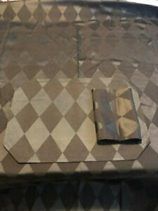 RECTANGLE BLACK DIAMOND TABLECLOTH MATCHING PLACE MATS & NAPKINS EUC