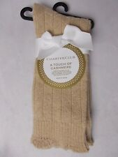 Charter Club Women's Sweater Texture Cashmere Blend Socks Pale Oatmeal Size 9-11
