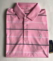 $90 NWT Mens Polo Ralph Lauren Performance Moisture Wicking Shirt Rose Striped M