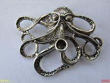 steampunk brooch badge pin silver pipe smoking octopus kraken pirate