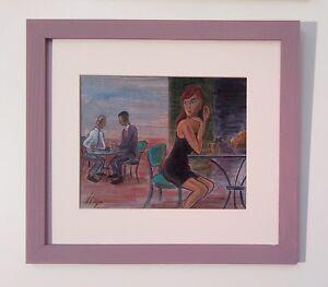 Llop - acrílico 'la terraza' lienzo enmarcado 38x34