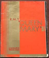 CUNARD WHITE STAR LINE RMS QUEEN MARY MAIDEN VOYAGE ERA ART DECO BROCHURE