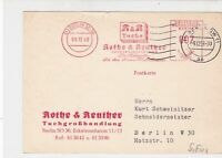 Germany Berlin 1958 Machine Slogan Rothe & Reuther Cancel Stamps Card Ref 24300