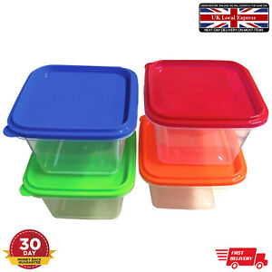 New 4 pc Food Containers Storage Plastic Boxes Bowls Kitchen Lunch Pots with Lid