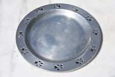 """New listing Dog Pet Dish Aluminum Pewtarex Olde Country 7.5"""" Wide X 1/2 Deep"""