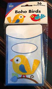 Boho Birds Library Pockets Carson Dellosa CD-121009