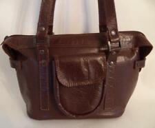 BROWN LEATHER HANDBAG SHOULDER BAG DOUBLE STRAP
