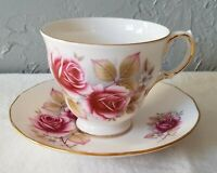 Vintage Queen Anne China Rose Pattern Cup and Saucer Set Made in England