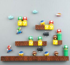 10 PCS 3D Super Mario Bros. Réfrigérateur Aimants Message Autocollant Sticker