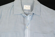 Vintage 50s Van Heusen Striped Button Up Shirt 100% Cotton Top Loop Blue Mens M