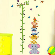 Lovely animals stack height measure wall stickers decal kid baby room