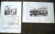 1836 NAPOLEONE A TORTOSA IN SPAGNA LOTTO INCISIONI CARTA GEOGRAFICA E BATTAGLIA