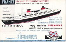 """Buvard publicitaire """"Paquebot France"""", Matelas Simmons, vers 1962"""