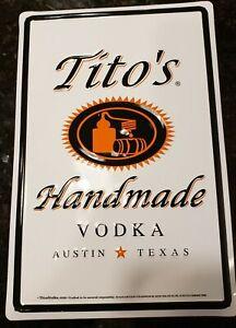 """Tito's Handmade Vodka Tin Sign - Austin Texas - New - 8"""" X 12"""""""