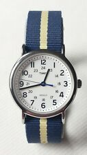 Timex Weekender T2P142 WR-30M Indiglo Two Tone Canvas Band Men's Working Watch