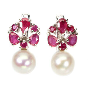 Pear Red Ruby 5x3mm Pearl 14K White Gold Plate 925 Sterling Silver Earrings