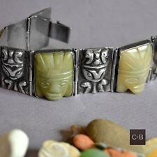 *Vintage Old MEXICAN Silver & Carved Jade Mask Repousse Silver BRACELET 69 grams