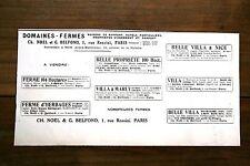 PUB vente immobilière domaines & fermes Noel & Belfond Paris Rossini 1925