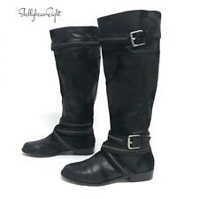 KORS MICHAEL Kors Black Suede Leather TALL MOTO Riding Boots ZIPPER Straps 7.5
