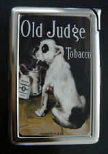 Old Judge D 01 Cigarette Case Built in Lighter Vintage Dog Animal Tobacco Ad