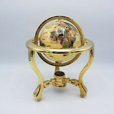 Vintage Mother of Pearl Gemstone Rotating Globe Kalifano w/ Golden Brass Stand