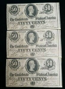 1864 C.S.A. Confederate States of America 50 Cents Consecutive Notes T-72 (3) No