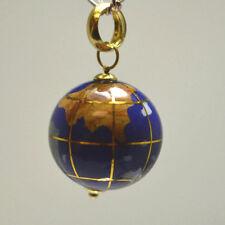 14K Yellow Gold Enamel 3D Earth Globe Map Michael Anthony Charm Ball Pendant
