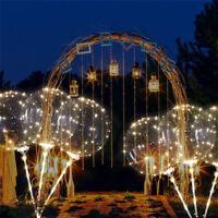 Lumineux LED Ballon Transparent Rond Bulle Mariage Corde Clair Fête Décor